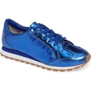 NEW. Tory Sport Ruffle Sneaker Metallic Blue